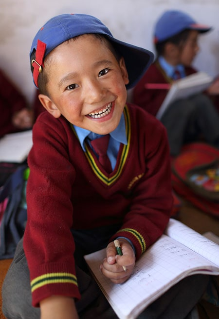 Student in school uniform, Lamdon school in Leh, Ladakh