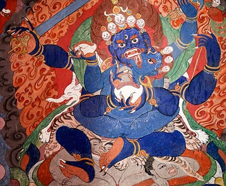 Wall painting of Buddhist protector, Ladakh