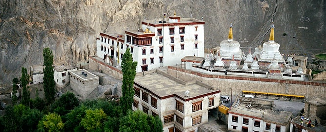 Lamayuru Monastery Gompa seen from above, Indus valley, Ladakh