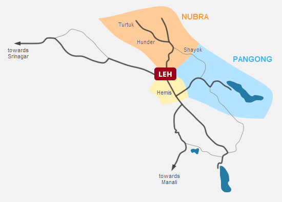 Nubra valley & Pangong lake tour, Ladakh Map