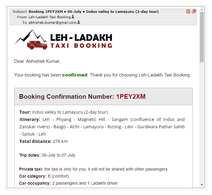 Booking confirmation email, first tour